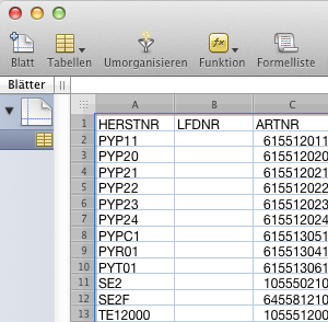 Datenimport mit einer Open office Tabelle